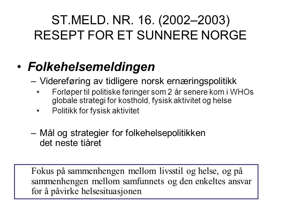 ST.MELD. NR. 16. (2002–2003) RESEPT FOR ET SUNNERE NORGE
