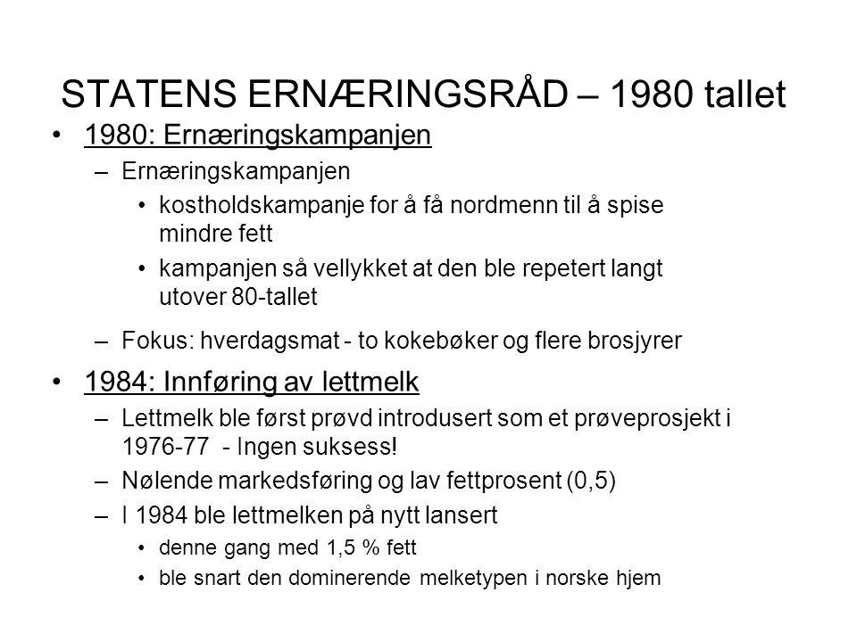 STATENS ERNÆRINGSRÅD – 1980 tallet