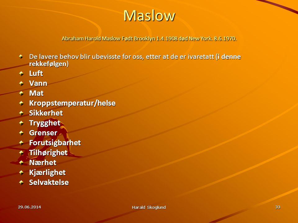 Maslow Abraham Harold Maslow Født Brooklyn 1. 4. 1908 død New York. 8