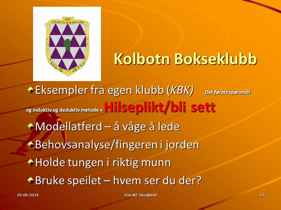 Kolbotn Bokseklubb Eksempler fra egen klubb (KBK) Det første spørsmål og induktiv og deduktiv metode + Hilseplikt/bli sett.