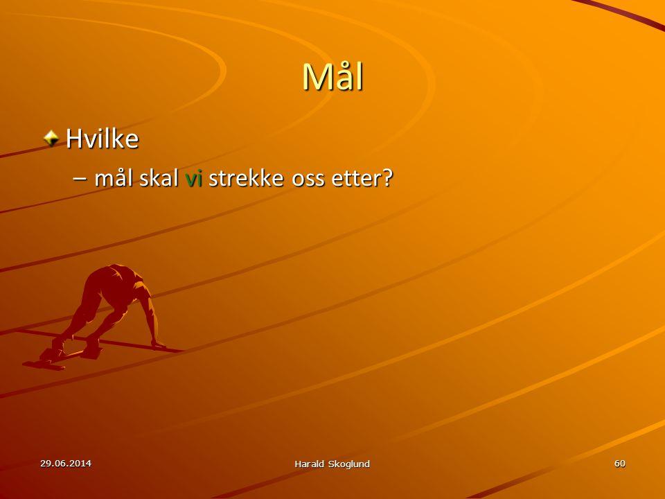 Mål Hvilke mål skal vi strekke oss etter 03.04.2017 Harald Skoglund