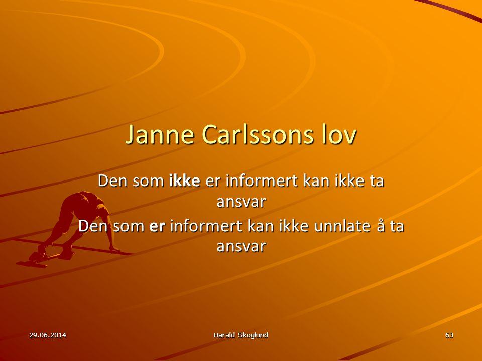 Janne Carlssons lov Den som ikke er informert kan ikke ta ansvar