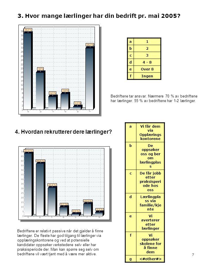 3. Hvor mange lærlinger har din bedrift pr. mai 2005