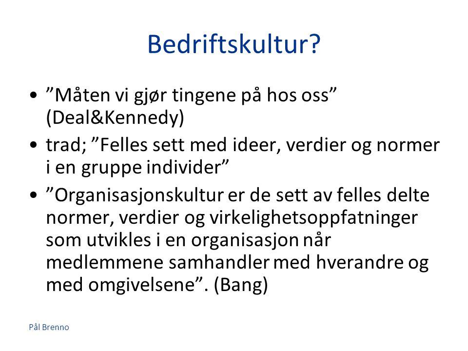 Bedriftskultur Måten vi gjør tingene på hos oss (Deal&Kennedy)