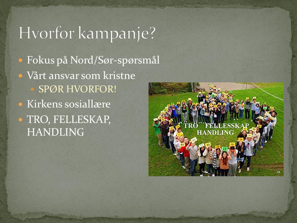Hvorfor kampanje Fokus på Nord/Sør-spørsmål Vårt ansvar som kristne