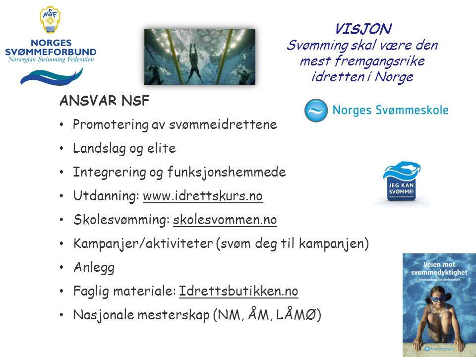 VISJON Svømming skal være den mest fremgangsrike idretten i Norge