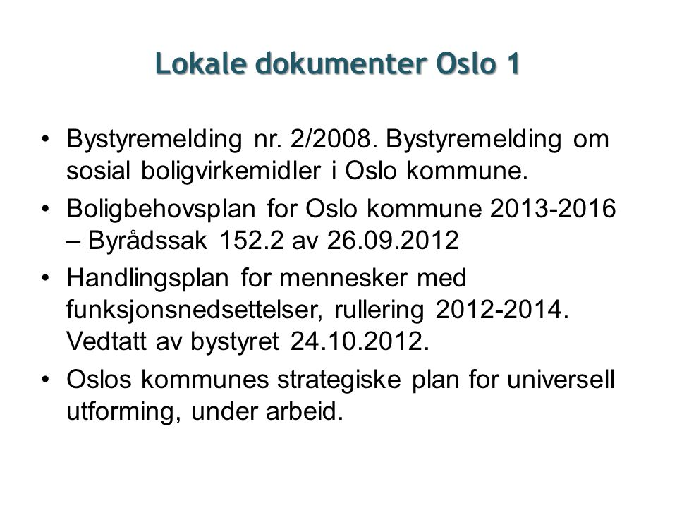 Lokale dokumenter Oslo 1