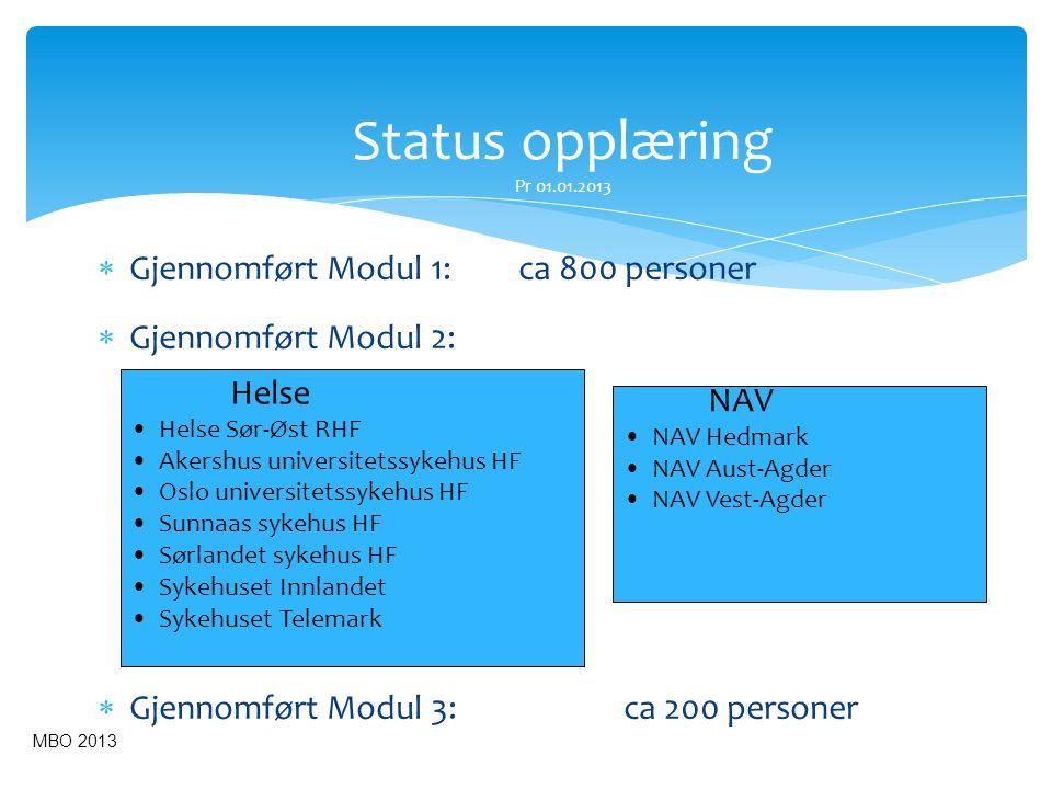 Status opplæring Pr 01.01.2013 Gjennomført Modul 1: ca 800 personer