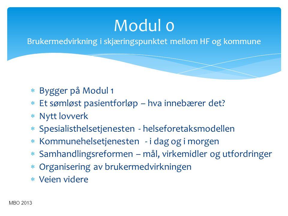 Modul 0 Brukermedvirkning i skjæringspunktet mellom HF og kommune