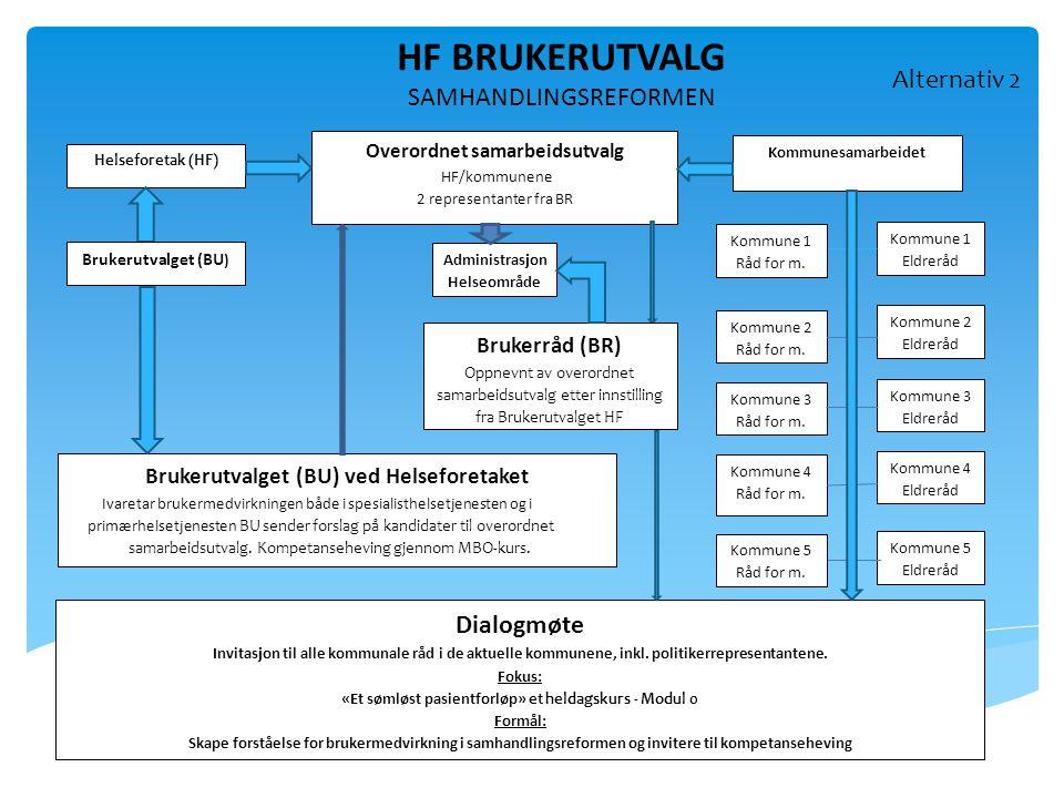 HF BRUKERUTVALG SAMHANDLINGSREFORMEN Alternativ 2 Dialogmøte