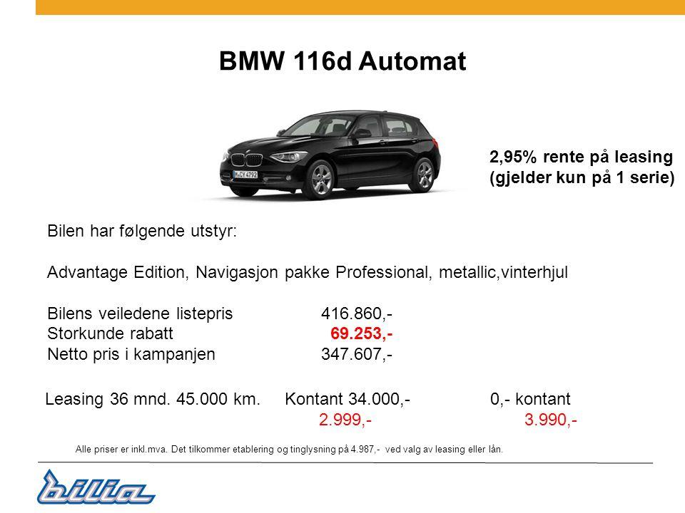 BMW 116d Automat 2,95% rente på leasing (gjelder kun på 1 serie)