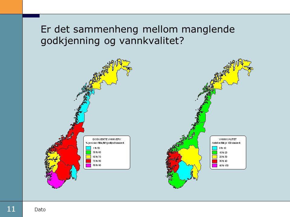Er det sammenheng mellom manglende godkjenning og vannkvalitet