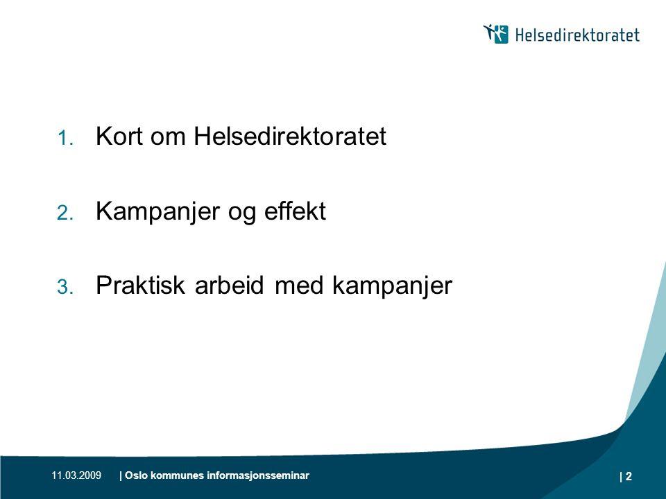 Kort om Helsedirektoratet Kampanjer og effekt