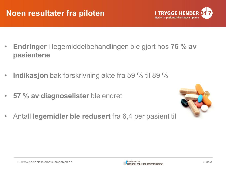 Noen resultater fra piloten