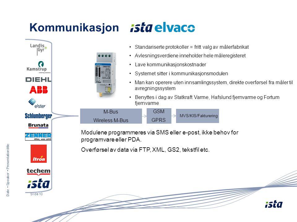 Kommunikasjon Standariserte protokoller = fritt valg av målerfabrikat. Avlesningsverdiene inneholder hele måleregisteret.