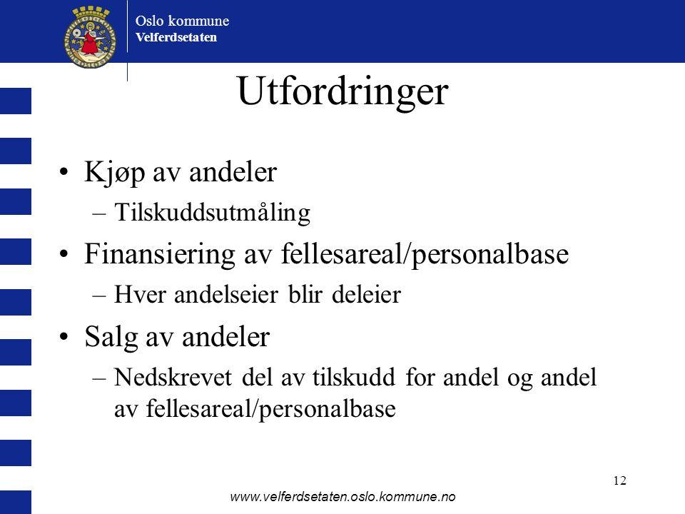 Utfordringer Kjøp av andeler Finansiering av fellesareal/personalbase