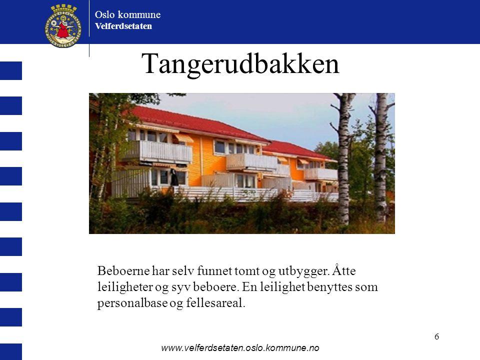 Tangerudbakken Beboerne har selv funnet tomt og utbygger. Åtte leiligheter og syv beboere. En leilighet benyttes som personalbase og fellesareal.