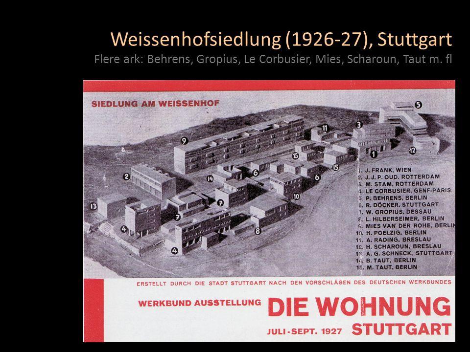 Weissenhofsiedlung (1926-27), Stuttgart Flere ark: Behrens, Gropius, Le Corbusier, Mies, Scharoun, Taut m.