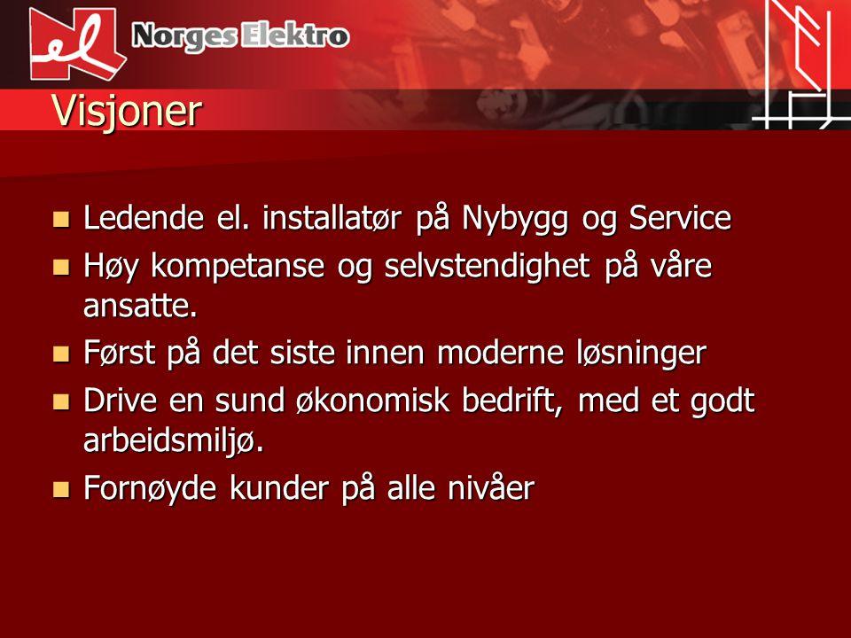 Visjoner Ledende el. installatør på Nybygg og Service