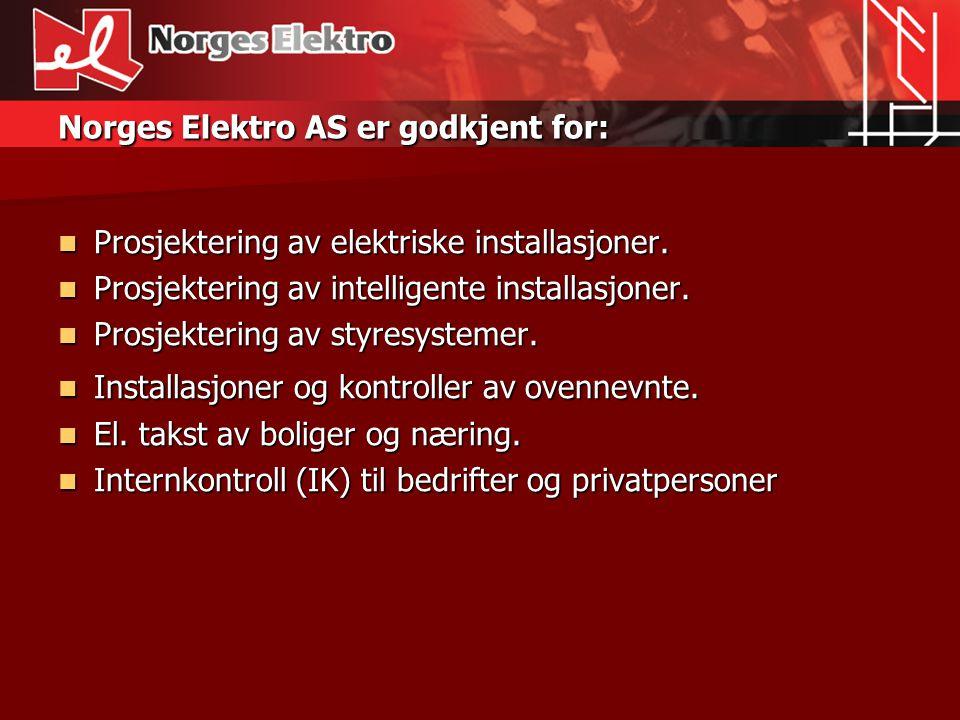 Norges Elektro AS er godkjent for: