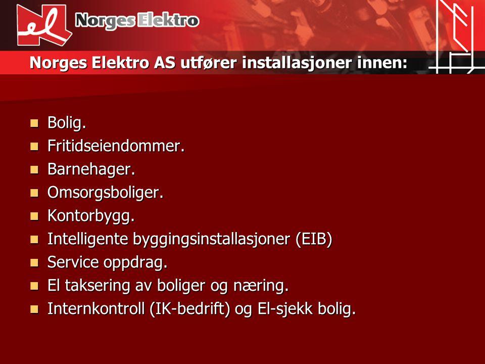 Norges Elektro AS utfører installasjoner innen: