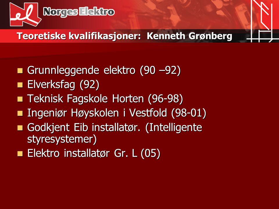Teoretiske kvalifikasjoner: Kenneth Grønberg