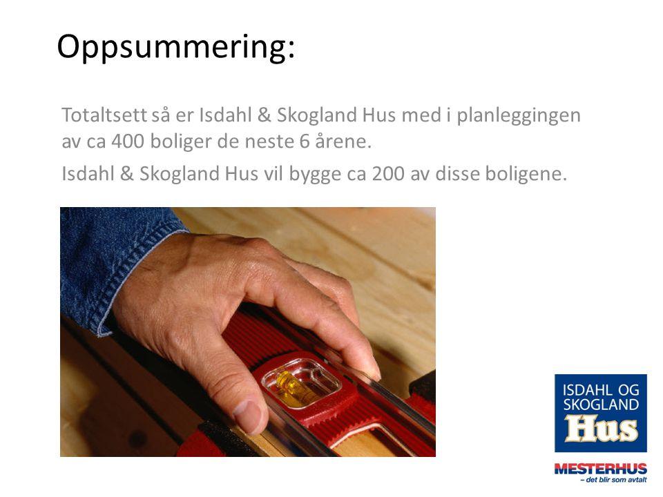 Oppsummering: Totaltsett så er Isdahl & Skogland Hus med i planleggingen av ca 400 boliger de neste 6 årene.