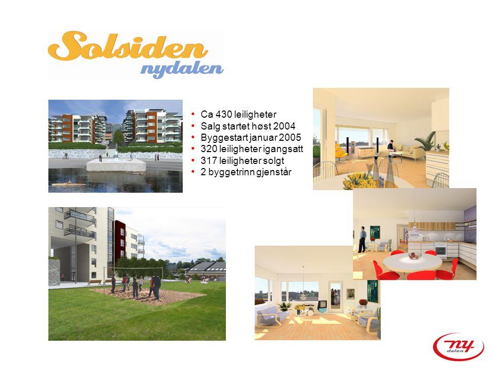 Ca 430 leiligheter Salg startet høst 2004. Byggestart januar 2005. 320 leiligheter igangsatt. 317 leiligheter solgt.