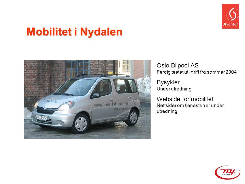 Mobilitet i Nydalen Oslo Bilpool AS Ferdig testet ut, drift fra sommer 2004. Bysykler Under utredning.