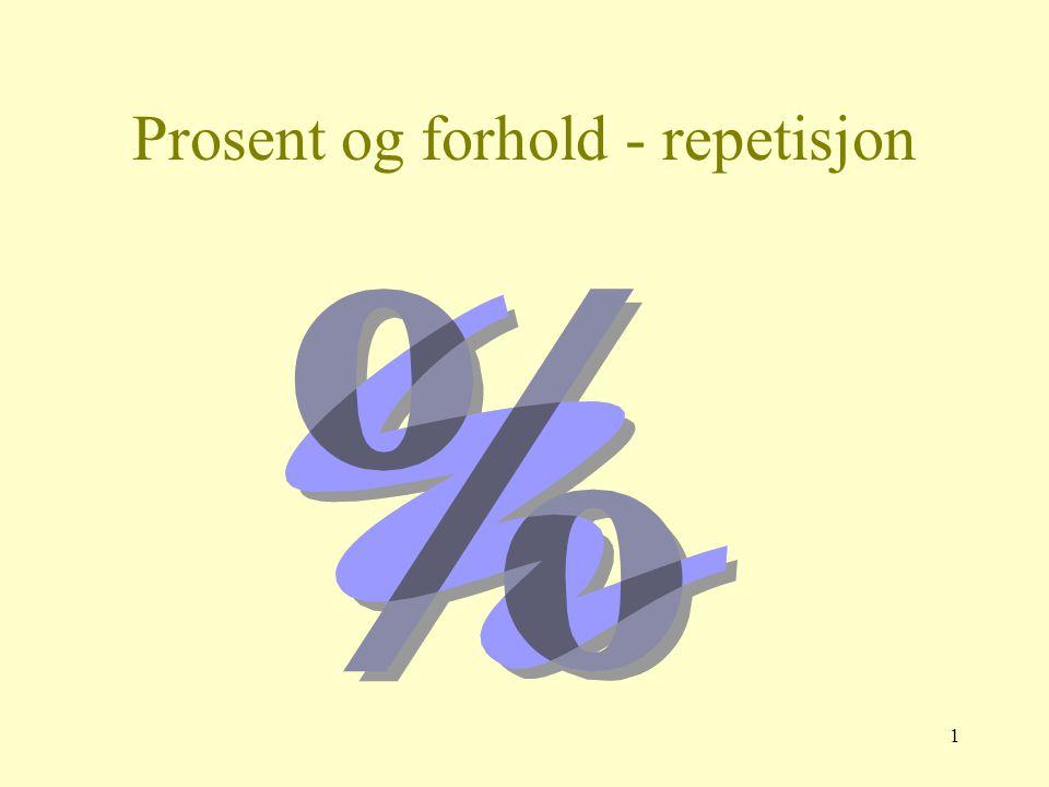 Prosent og forhold - repetisjon