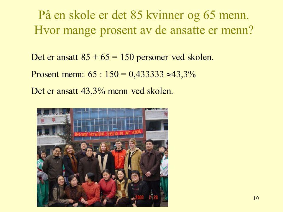 På en skole er det 85 kvinner og 65 menn