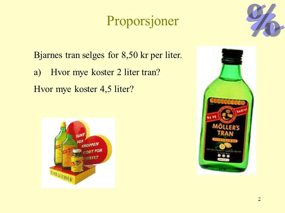 Proporsjoner Bjarnes tran selges for 8,50 kr per liter.
