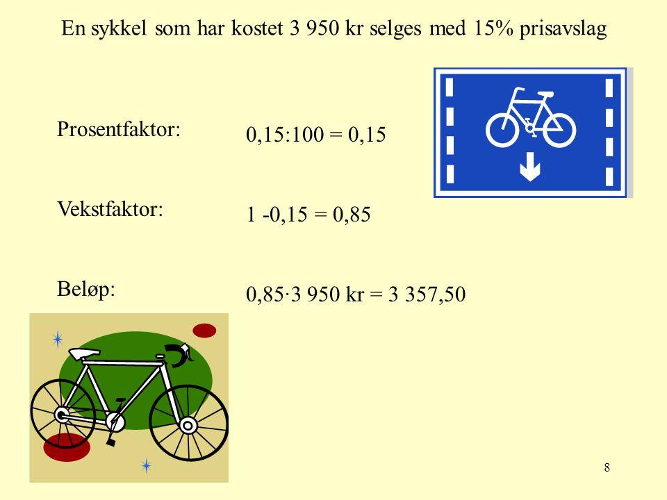 En sykkel som har kostet 3 950 kr selges med 15% prisavslag