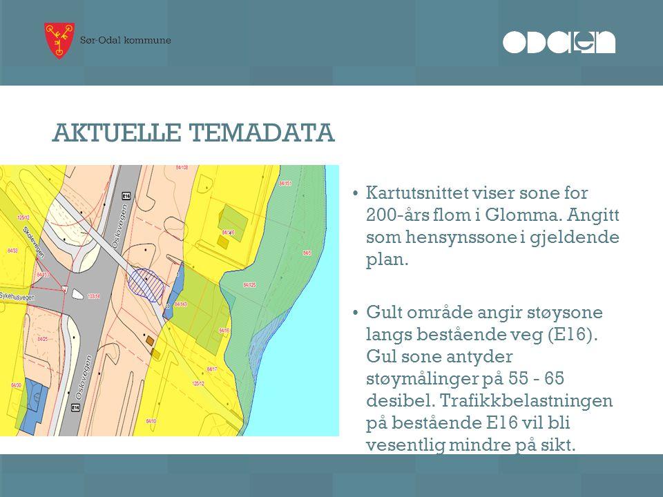 AKTUELLE TEMADATA Kartutsnittet viser sone for 200-års flom i Glomma. Angitt som hensynssone i gjeldende plan.