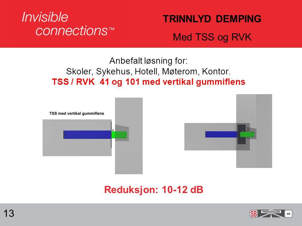 TRINNLYD DEMPING Med TSS og RVK Reduksjon: 10-12 dB 13
