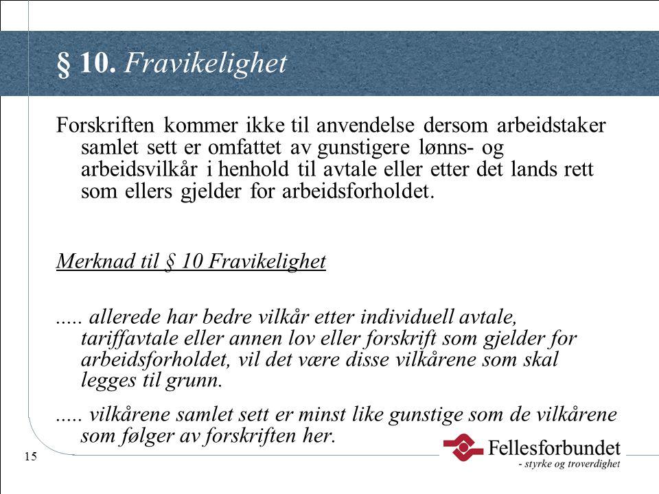 § 10. Fravikelighet