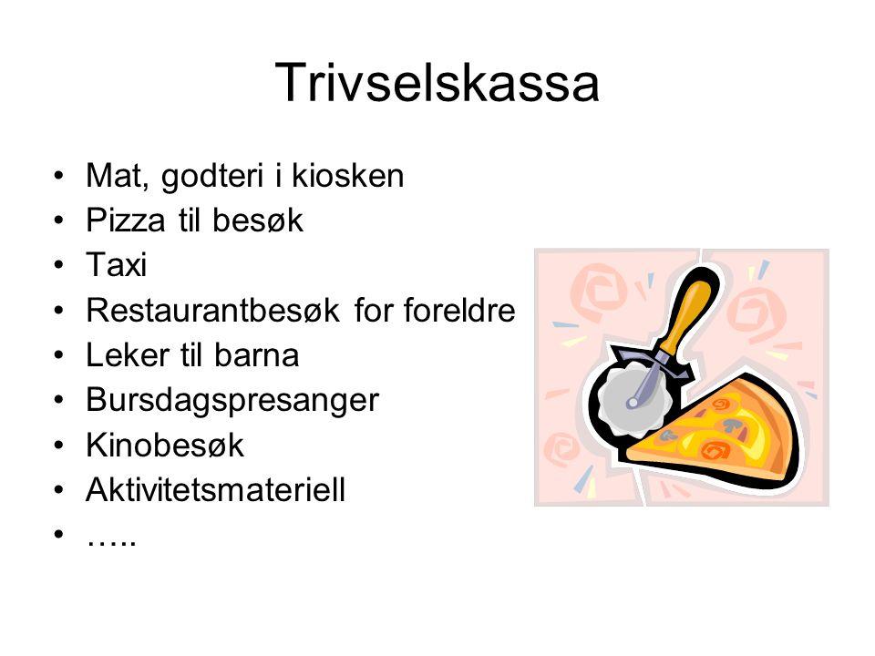 Trivselskassa Mat, godteri i kiosken Pizza til besøk Taxi