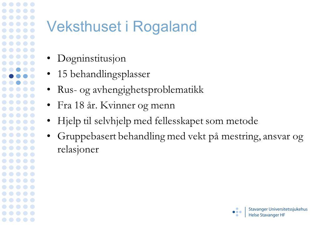 Veksthuset i Rogaland Døgninstitusjon 15 behandlingsplasser