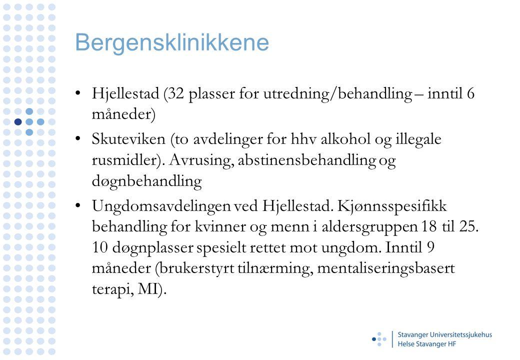 Bergensklinikkene Hjellestad (32 plasser for utredning/behandling – inntil 6 måneder)