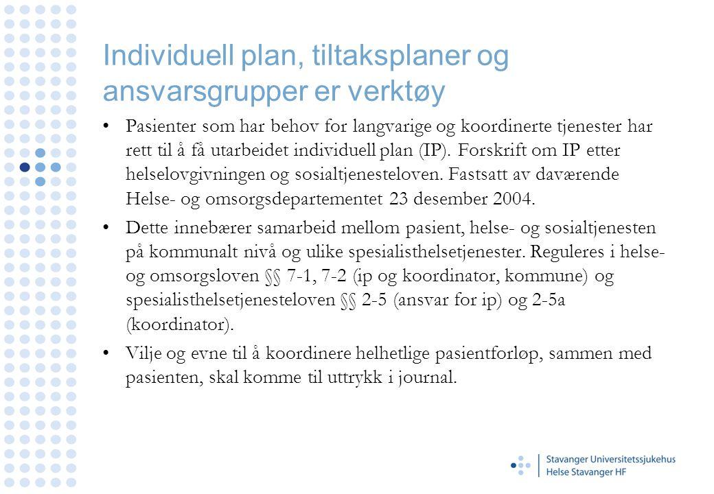 Individuell plan, tiltaksplaner og ansvarsgrupper er verktøy