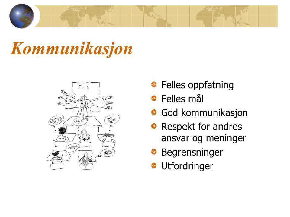 Kommunikasjon Felles oppfatning Felles mål God kommunikasjon