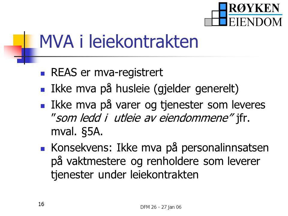 MVA i leiekontrakten REAS er mva-registrert