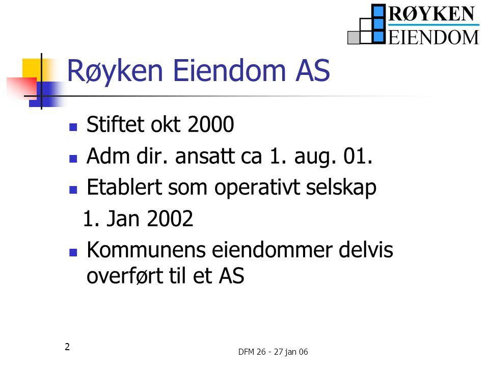 Røyken Eiendom AS Stiftet okt 2000 Adm dir. ansatt ca 1. aug. 01.