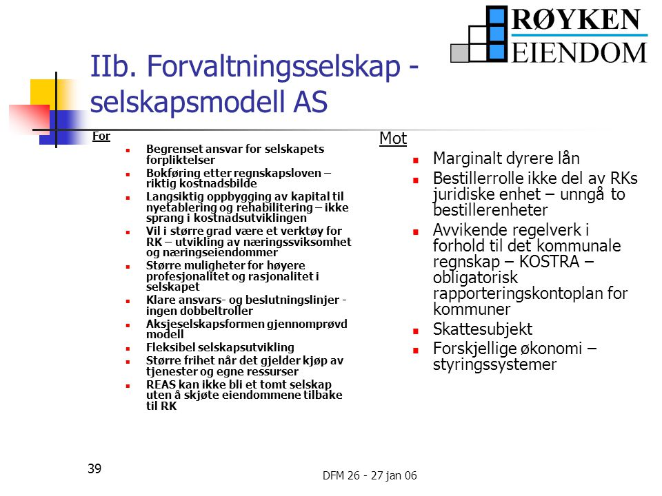 IIb. Forvaltningsselskap - selskapsmodell AS