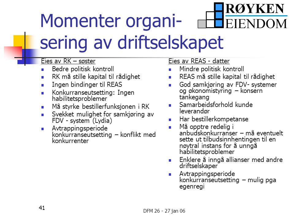 Momenter organi- sering av driftselskapet
