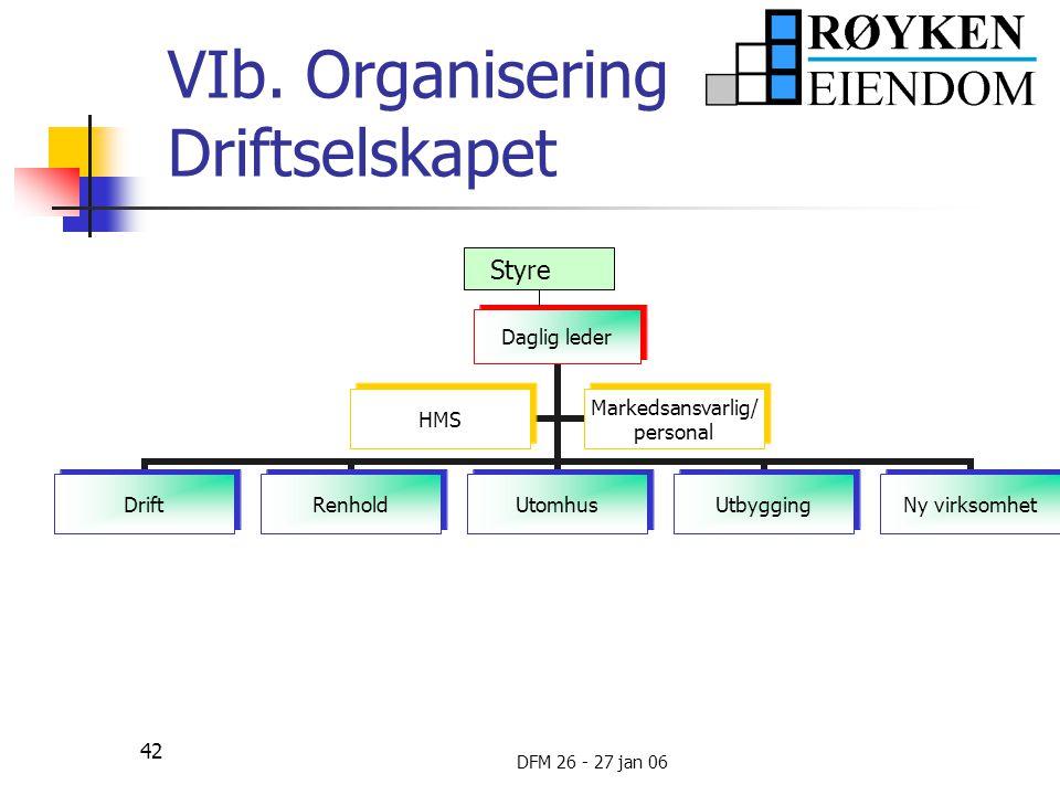 VIb. Organisering Driftselskapet
