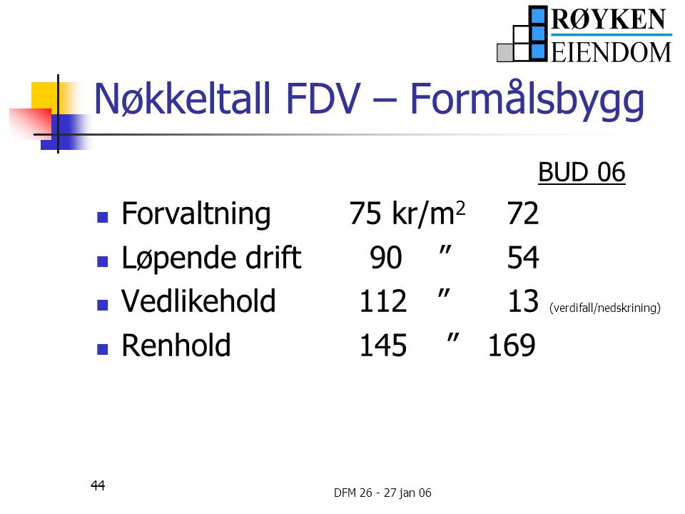 Nøkkeltall FDV – Formålsbygg