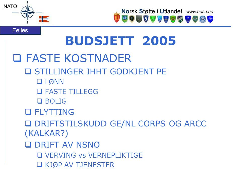 BUDSJETT 2005 FASTE KOSTNADER STILLINGER IHHT GODKJENT PE FLYTTING