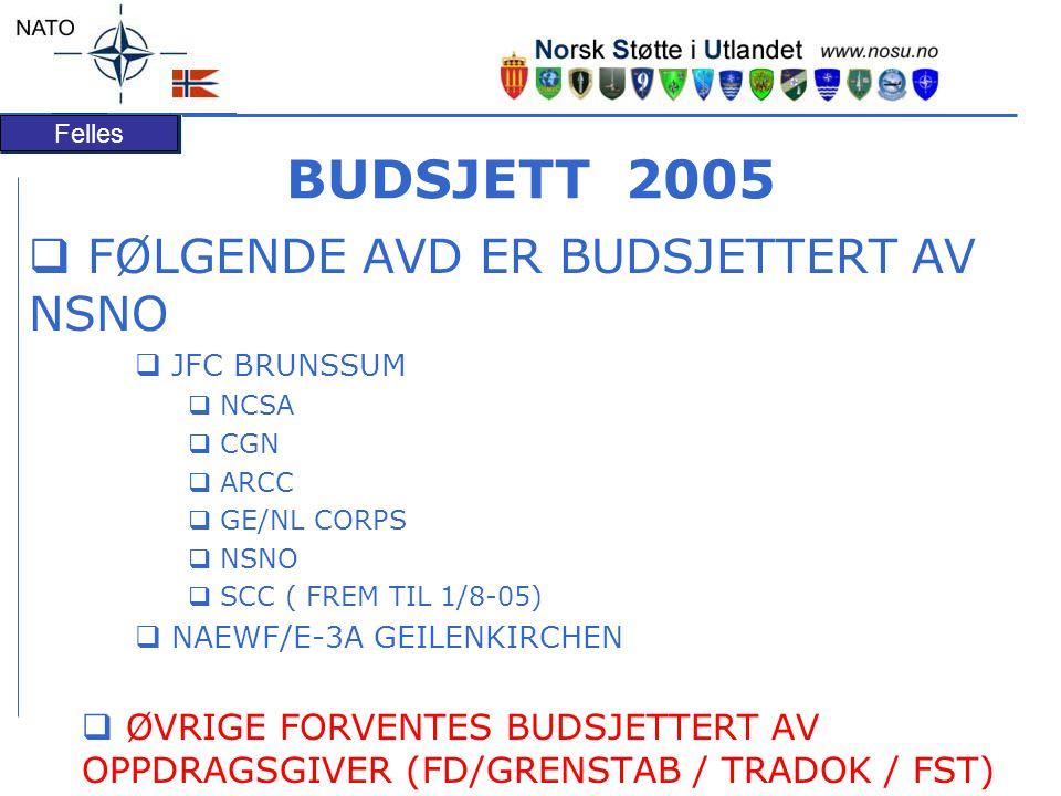 BUDSJETT 2005 FØLGENDE AVD ER BUDSJETTERT AV NSNO