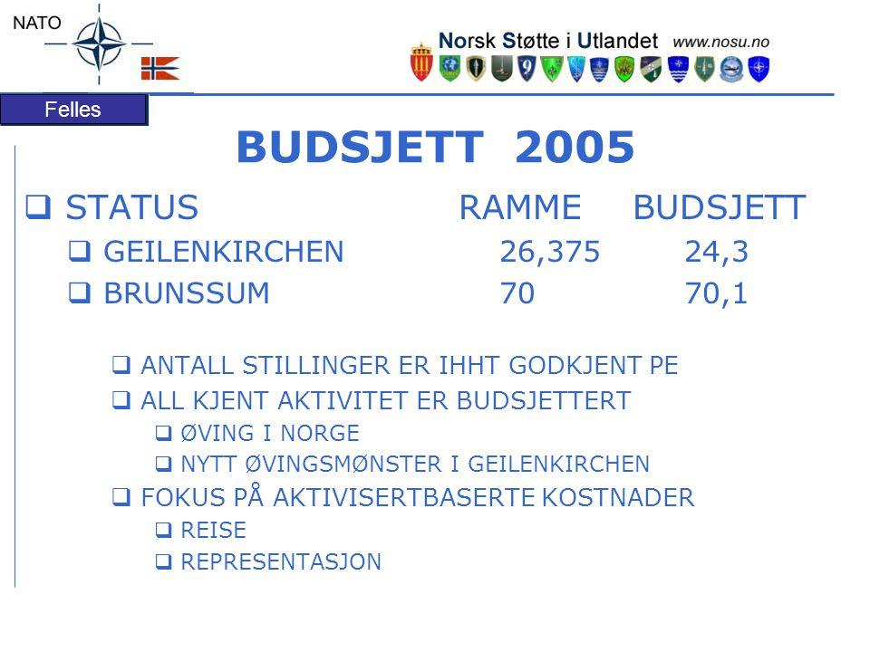 BUDSJETT 2005 STATUS RAMME BUDSJETT GEILENKIRCHEN 26,375 24,3